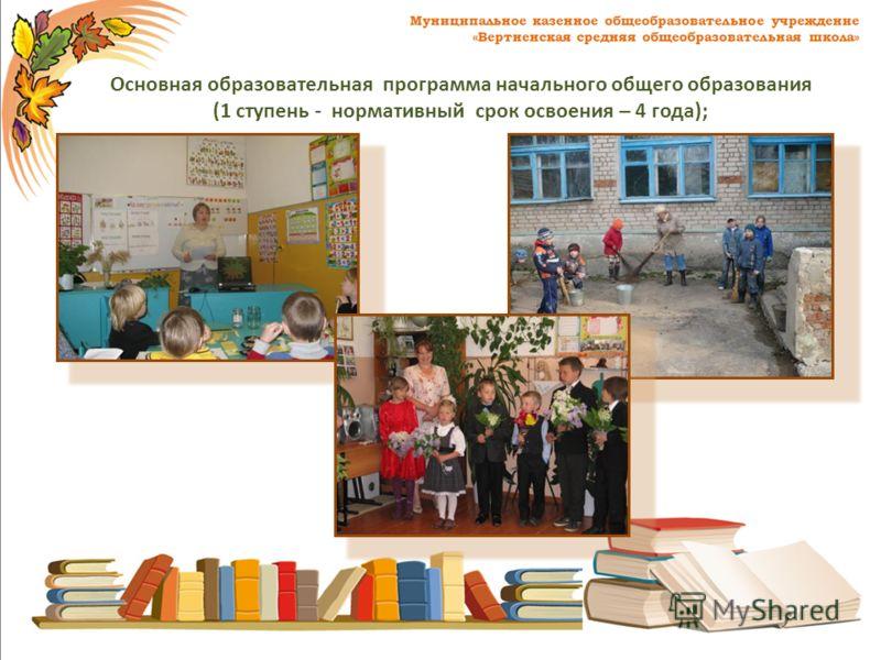 Основная образовательная программа начального общего образования (1 ступень - нормативный срок освоения – 4 года);