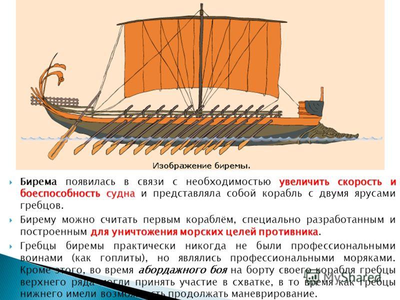 В архаический период (12 8 века до н. э.) наиболее распространёнными типами греческих боевых кораблей были триаконтор («тридцативёсельник») и пентеконтор («пятидесятивёсельник»). Пентеконтор Пентеконтор представлял собой одноярусное гребное судно, пр