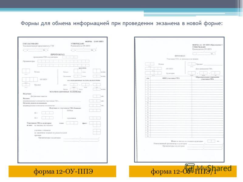 форма 12-ОУ-ППЭ/1форма 12-ОУ-ППЭ Формы для обмена информацией при проведении экзамена в новой форме: