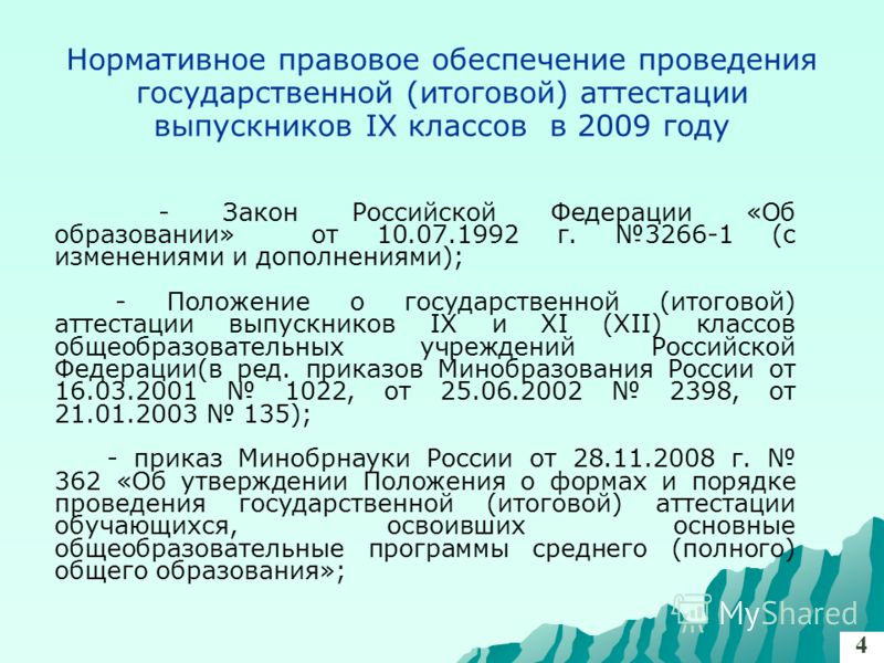 Нормативное правовое обеспечение проведения государственной (итоговой) аттестации выпускников IX классов в 2009 году - Закон Российской Федерации «Об образовании» от 10.07.1992 г. 3266-1 (с изменениями и дополнениями); - Положение о государственной (