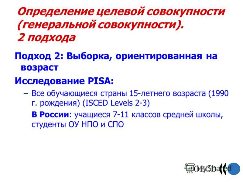 Определение целевой совокупности (генеральной совокупности). 2 подхода Подход 2: Выборка, ориентированная на возраст Исследование PISA: –Все обучающиеся страны 15-летнего возраста (1990 г. рождения) (ISCED Levels 2-3) В России: учащиеся 7-11 классов