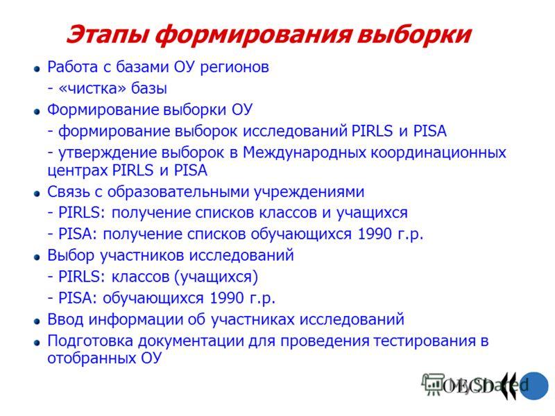 Этапы формирования выборки Работа с базами ОУ регионов - «чистка» базы Формирование выборки ОУ - формирование выборок исследований PIRLS и PISA - утверждение выборок в Международных координационных центрах PIRLS и PISA Связь с образовательными учрежд