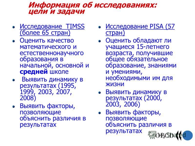 Информация об исследованиях: цели и задачи Исследование TIMSS (более 65 стран) Оценить качество математического и естественнонаучного образования в начальной, основной и средней школе Выявить динамику в результатах (1995, 1999, 2003, 2007, 2008) Выяв