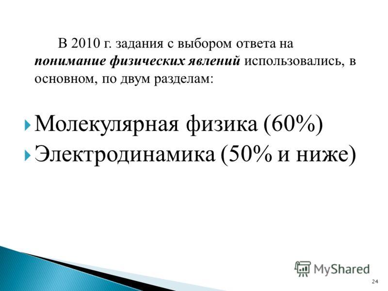 В 2010 г. задания с выбором ответа на понимание физических явлений использовались, в основном, по двум разделам: Молекулярная физика (60%) Электродинамика (50% и ниже) 24
