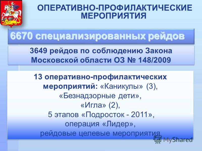 6670 специализированных рейдов ОПЕРАТИВНО-ПРОФИЛАКТИЧЕСКИЕ МЕРОПРИЯТИЯ 13 оперативно-профилактических мероприятий: «Каникулы» (3), «Безнадзорные дети», «Игла» (2), 5 этапов «Подросток - 2011», операция «Лидер», рейдовые целевые мероприятия 13 операти