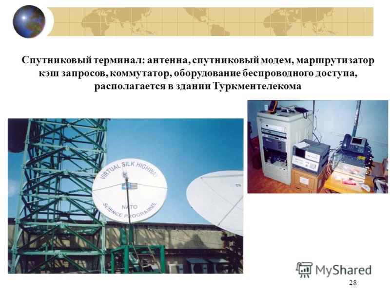 28 Спутниковый терминал: антенна, спутниковый модем, маршрутизатор кэш запросов, коммутатор, оборудование беспроводного доступа, располагается в здании Туркментелекома
