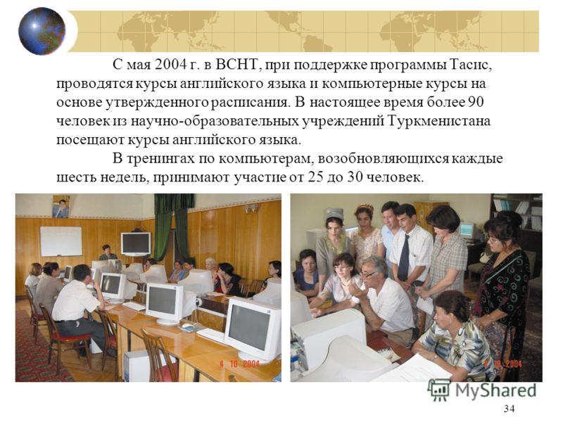 34 С мая 2004 г. в ВСНТ, при поддержке программы Тасис, проводятся курсы английского языка и компьютерные курсы на основе утвержденного расписания. В настоящее время более 90 человек из научно-образовательных учреждений Туркменистана посещают курсы а