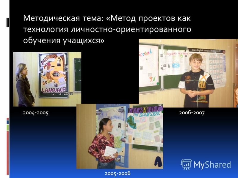 Методическая тема: «Метод проектов как технология личностно-ориентированного обучения учащихся» 2004-2005 2005-2006 2006-2007