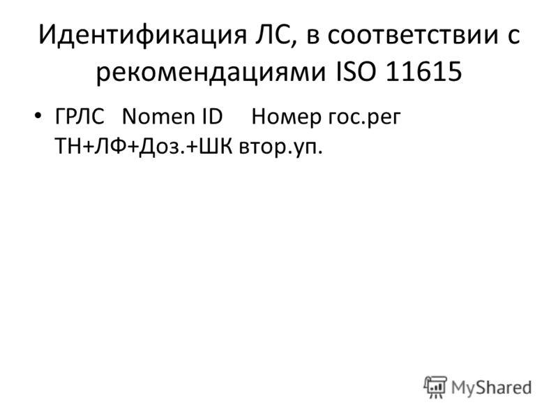 Идентификация ЛС, в соответствии с рекомендациями ISO 11615 ГРЛС Nomen ID Номер гос.рег ТН+ЛФ+Доз.+ШК втор.уп.