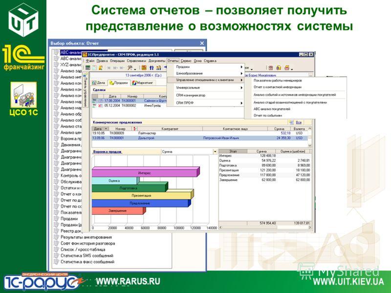 ЦСО 1С WWW.RARUS.RU Система отчетов – позволяет получить представление о возможностях системы
