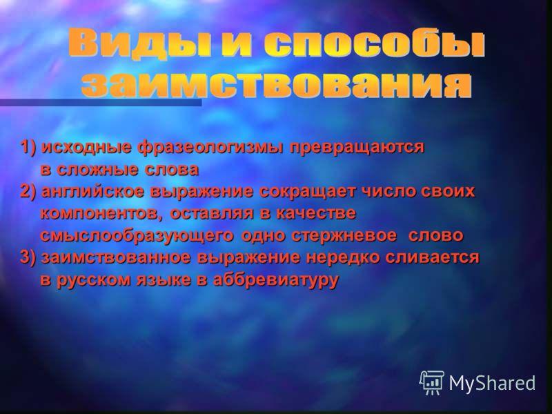 Вчем причины такого огромного количества заимствований из английского языка? КакимиКакими путями приходят эти слова в русский язык? КакКак их можно классифицировать? к этому процессу относятся учащиеся нашей школы?