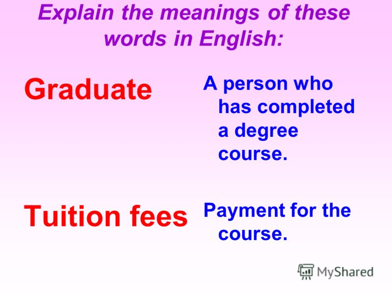 Graduate Tuition fees A person who has completed a degree course. Payment for the course. Explain the meanings of these words in English:
