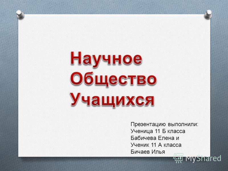 Презентацию выполнили: Ученица 11 Б класса Бабичева Елена и Ученик 11 А класса Бичаев Илья