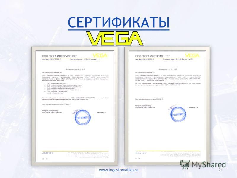 СЕРТИФИКАТЫ www.ingavtomatika.ru24