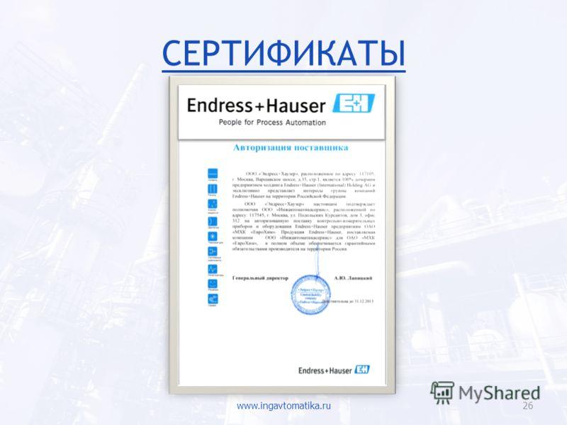 СЕРТИФИКАТЫ www.ingavtomatika.ru26