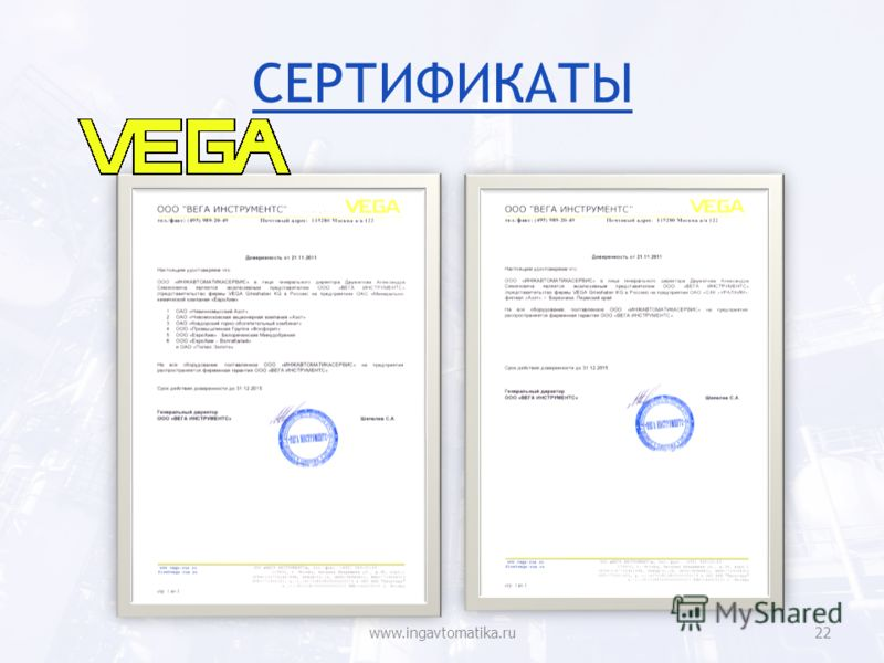 СЕРТИФИКАТЫ www.ingavtomatika.ru22