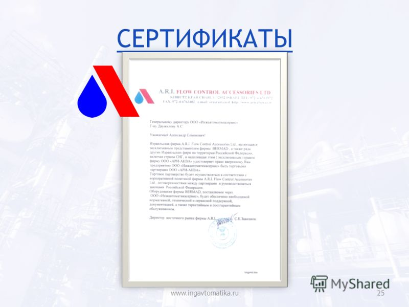 СЕРТИФИКАТЫ www.ingavtomatika.ru25