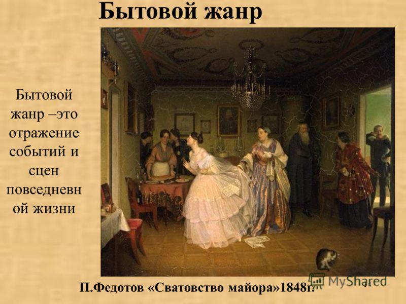 14 Бытовой жанр –это отражение событий и сцен повседневн ой жизни П.Федотов «Сватовство майора»1848г. Бытовой жанр