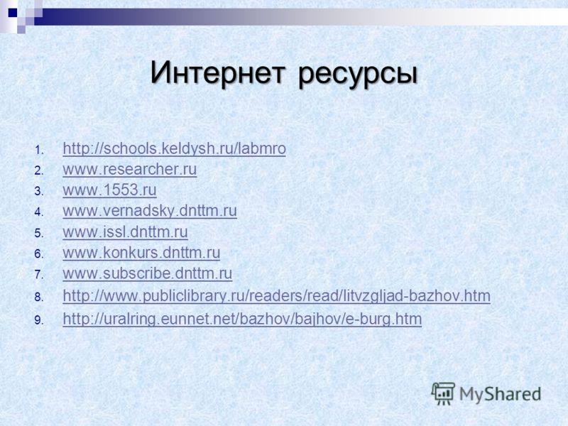 Интернет ресурсы 1. h http://schools.keldysh.ru/labmro 2. w www.researcher.ru 3. w www.1553.ru 4. w www.vernadsky.dnttm.ru 5. w www.issl.dnttm.ru 6. w www.konkurs.dnttm.ru 7. w www.subscribe.dnttm.ru 8. h http://www.publiclibrary.ru/readers/read/litv