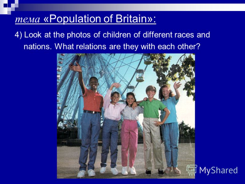 тема «Population of Britain»: 4) Look at the photos of children of different races and nations. What relations are they with each other?