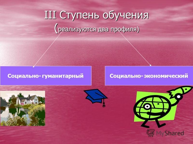 III Ступень обучения ( реализуются два профиля) Социально- гуманитарныйСоциально- экономический