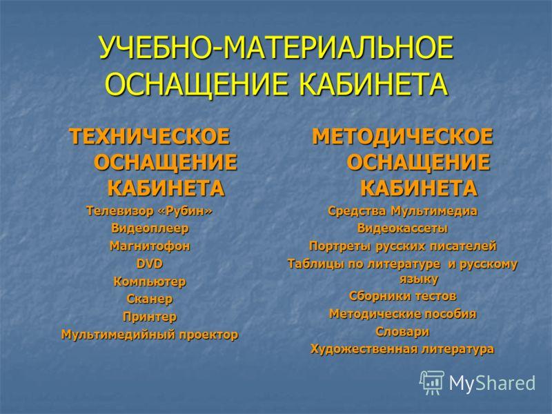 УЧЕБНО-МАТЕРИАЛЬНОЕ ОСНАЩЕНИЕ КАБИНЕТА ТЕХНИЧЕСКОЕ ОСНАЩЕНИЕ КАБИНЕТА Телевизор «Рубин» ВидеоплеерМагнитофонDVDКомпьютерСканерПринтер Мультимедийный проектор МЕТОДИЧЕСКОЕ ОСНАЩЕНИЕ КАБИНЕТА Средства Мультимедиа Видеокассеты Портреты русских писателей