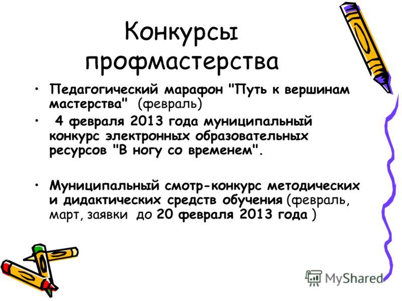 Конкурсы профмастерства Педагогический марафон