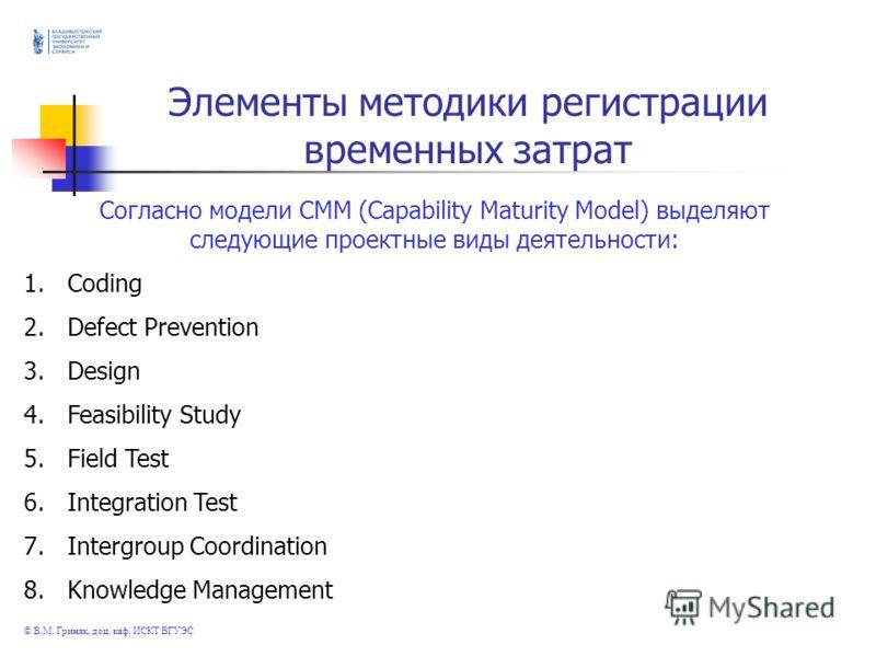 © В.М. Гриняк, доц. каф. ИСКТ ВГУЭС Элементы методики регистрации временных затрат Согласно модели СММ (Capability Maturity Model) выделяют следующие проектные виды деятельности: 1.Coding 2.Defect Prevention 3.Design 4.Feasibility Study 5.Field Test
