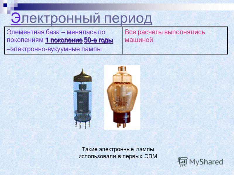 Электронный периодлектронный период 1 поколение50-е годы Элементная база – менялась по поколениям 1 поколение 50-е годы –электронно-вукуумные лампы Все расчеты выполнялись машиной. Такие электронные лампы использовали в первых ЭВМ