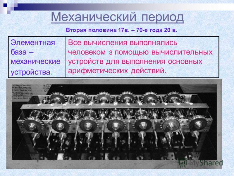 Механический период Элементная база – механические устройства. Все вычисления выполнялись человеком з помощью вычислительных устройств для выполнения основных арифметических действий. Вторая половина 17в. – 70-е года 20 в. Найпершою машиною для обчис