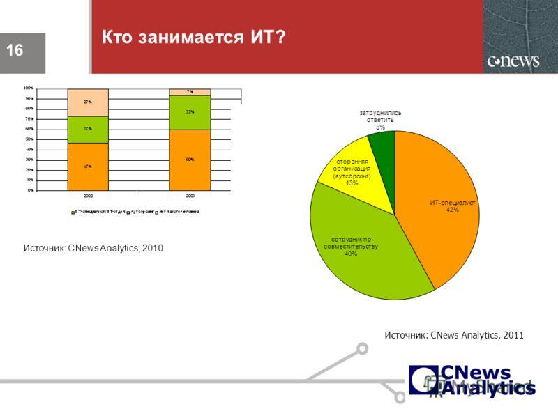 16 Кто занимается ИТ? 16 Источник: CNews Analytics, 2010 Источник: CNews Analytics, 2011