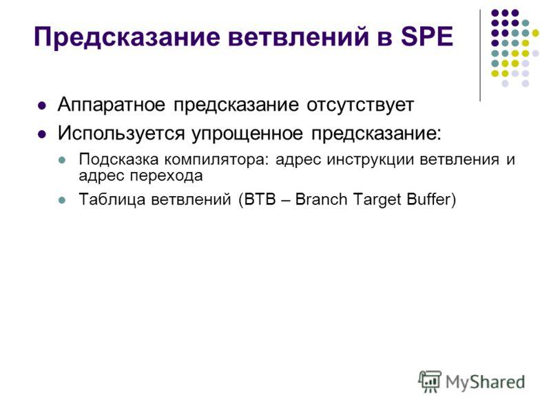 Предсказание ветвлений в SPE Аппаратное предсказание отсутствует Используется упрощенное предсказание: Подсказка компилятора: адрес инструкции ветвления и адрес перехода Таблица ветвлений (BTB – Branch Target Buffer)