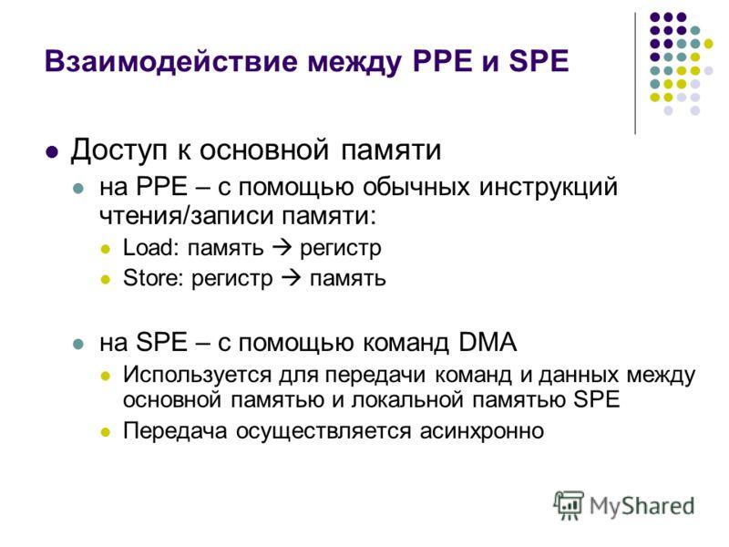 Взаимодействие между PPE и SPE Доступ к основной памяти на PPE – с помощью обычных инструкций чтения/записи памяти: Load: память регистр Store: регистр память на SPE – с помощью команд DMA Используется для передачи команд и данных между основной памя