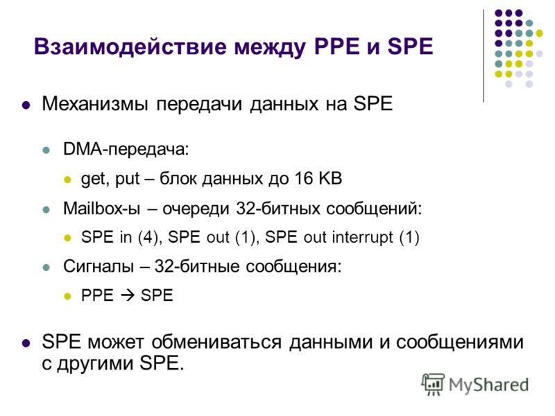 Взаимодействие между PPE и SPE Механизмы передачи данных на SPE DMA-передача: get, put – блок данных до 16 KB Mailbox-ы – очереди 32-битных сообщений: SPE in (4), SPE out (1), SPE out interrupt (1) Сигналы – 32-битные сообщения: PPE SPE SPE может обм