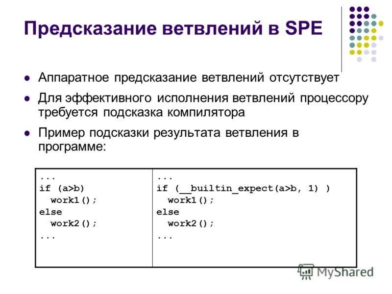 Предсказание ветвлений в SPE Аппаратное предсказание ветвлений отсутствует Для эффективного исполнения ветвлений процессору требуется подсказка компилятора Пример подсказки результата ветвления в программе:... if (a>b) work1(); else work2();... if (_