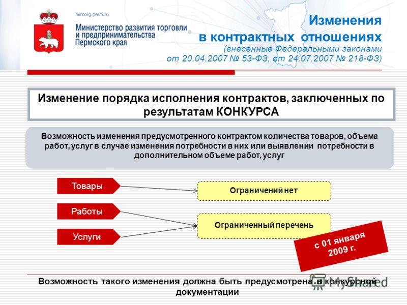 13 Возможность такого изменения должна быть предусмотрена в конкурсной документации Возможность изменения предусмотренного контрактом количества товаров, объема работ, услуг в случае изменения потребности в них или выявлении потребности в дополнитель