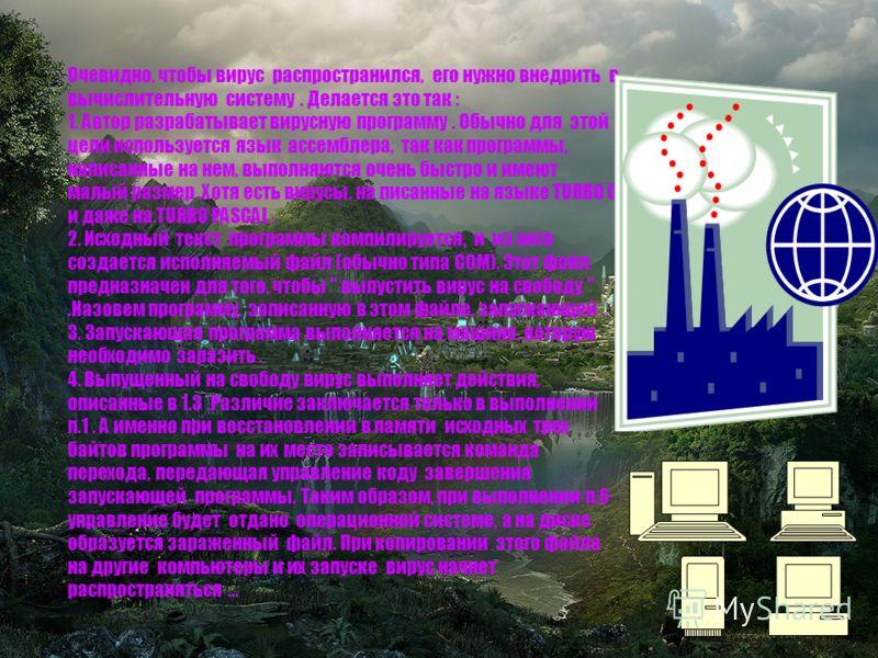 Получив управление при старте зараженной программы, вирус выполняет следующие действия : 1. Восстанавливает в памяти компьютера исходные три байтa этой программы. 2. Ищет на диске подходящий COM - файл. 3. Записывает свое тело в конец этого файла. 4.