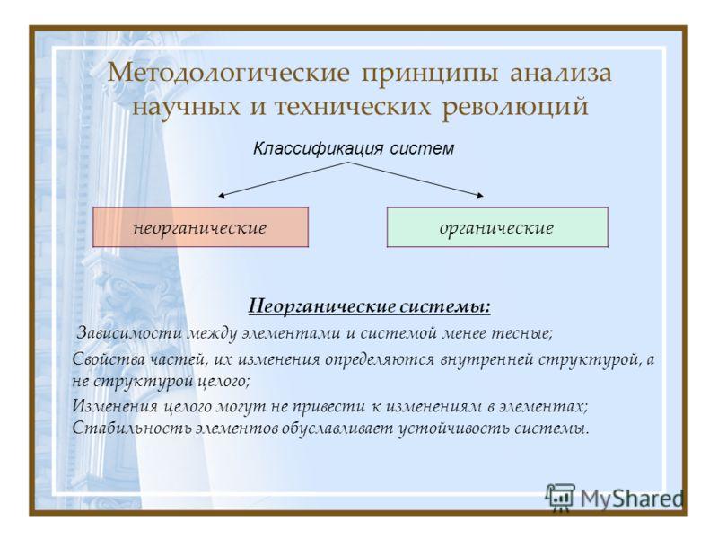 Методологические принципы анализа научных и технических революций Неорганические системы: Зависимости между элементами и системой менее тесные; Свойства частей, их изменения определяются внутренней структурой, а не структурой целого; Изменения целого