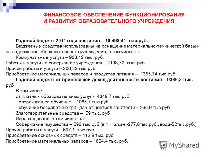 ФИНАНСОВОЕ ОБЕСПЕЧЕНИЕ ФУНКЦИОНИРОВАНИЯ И РАЗВИТИЯ ОБРАЗОВАТЕЛЬНОГО УЧРЕЖДЕНИЯ Годовой бюджет 2011 года составил – 19 498,41 тыс.руб. Бюджетные средства использованы на оснащение материально-технической базы и на содержание образовательного учреждени