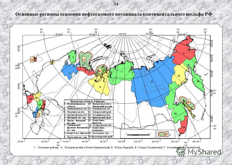 Основные регионы освоения нефтегазового потенциала континентального шельфа РФ - 34 -