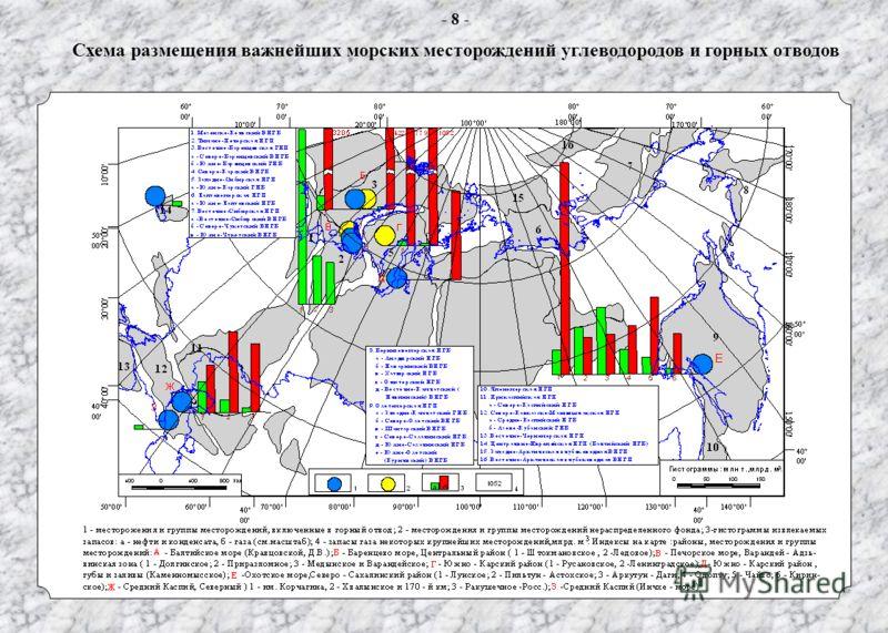Схема размещения важнейших морских месторождений углеводородов и горных отводов - 8 -