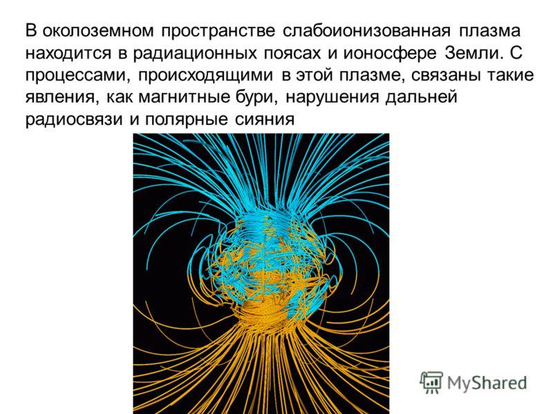 В околоземном пространстве слабоионизованная плазма находится в радиационных поясах и ионосфере Земли. С процессами, происходящими в этой плазме, связаны такие явления, как магнитные бури, нарушения дальней радиосвязи и полярные сияния