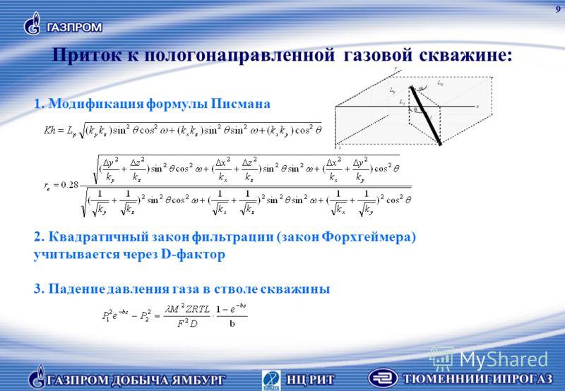 Приток к пологонаправленной газовой скважине: 1. Модификация формулы Писмана 2. Квадратичный закон фильтрации (закон Форхгеймера) учитывается через D-фактор 3. Падение давления газа в стволе скважины 9