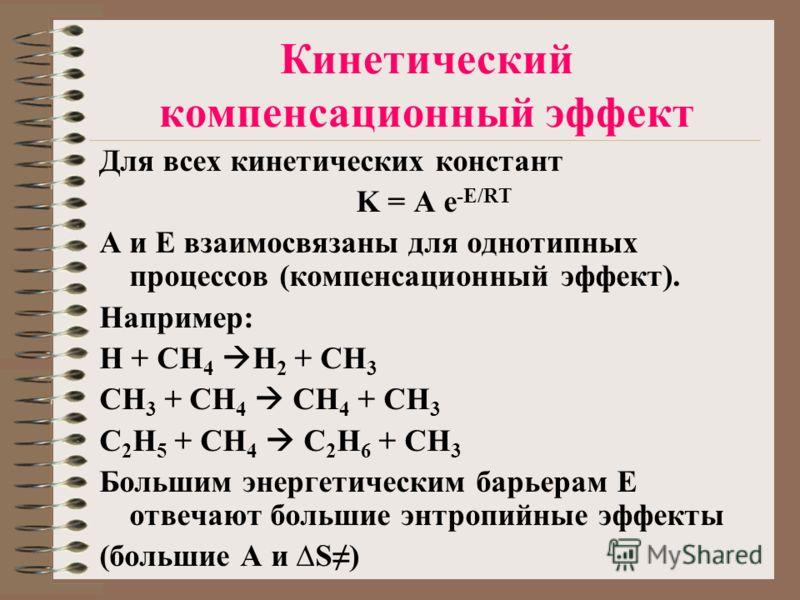 Кинетический компенсационный эффект Для всех кинетических констант K = A e -E/RT A и E взаимосвязаны для однотипных процессов (компенсационный эффект). Например: H + CH 4 H 2 + CH 3 CH 3 + CH 4 CH 4 + CH 3 C 2 H 5 + CH 4 C 2 H 6 + CH 3 Большим энерге