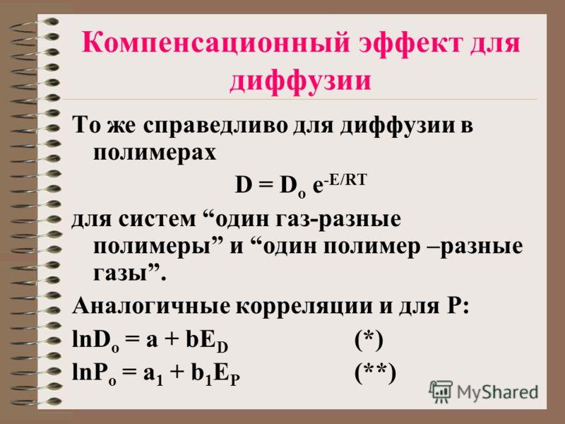 Компенсационный эффект для диффузии То же справедливо для диффузии в полимерах D = D o e -E/RT для систем один газ-разные полимеры и один полимер –разные газы. Аналогичные корреляции и для P: lnD o = a + bE D (*) lnP o = a 1 + b 1 E P (**)