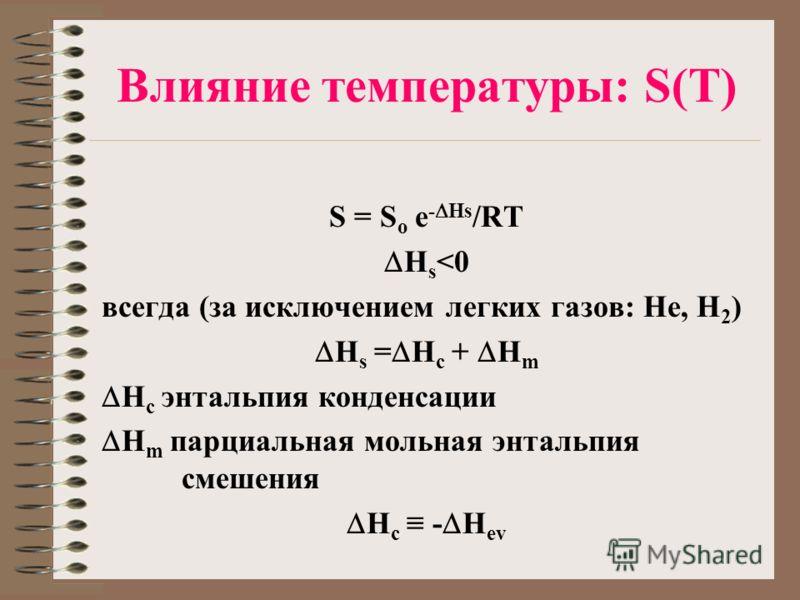 Влияние температуры: S(T) S = S o e - Hs /RT H s