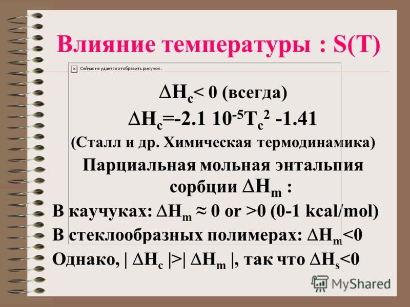 Влияние температуры : S(T) H c < 0 (всегда) H c =-2.1 10 -5 T c 2 -1.41 (Сталл и др. Химическая термодинамика) Парциальная мольная энтальпия сорбции H m : В каучуках: H m 0 or >0 (0-1 kcal/mol) В стеклообразных полимерах: H m | H m |, так что H s