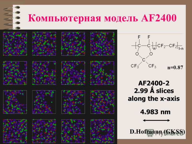 Компьютерная модель AF2400 AF2400-2 2.99 Ǻ slices along the x-axis 4.983 nm D.Hofmann (GKSS) n=0.87