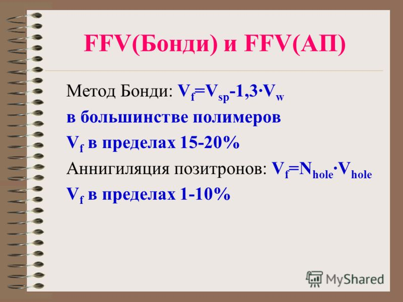 FFV(Бонди) и FFV(АП) Метод Бонди: V f =V sp -1,3·V w в большинстве полимеров V f в пределах 15-20% Аннигиляция позитронов: V f =N hole ·V hole V f в пределах 1-10%