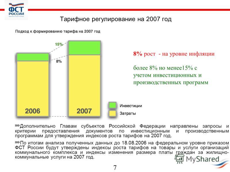 7 Тарифное регулирование на 2007 год Дополнительно Главам субъектов Российской Федерации направлены запросы и критерии предоставления документов по инвестиционным и производственным программам для утверждения индексов роста тарифов на 2007 год. По ит